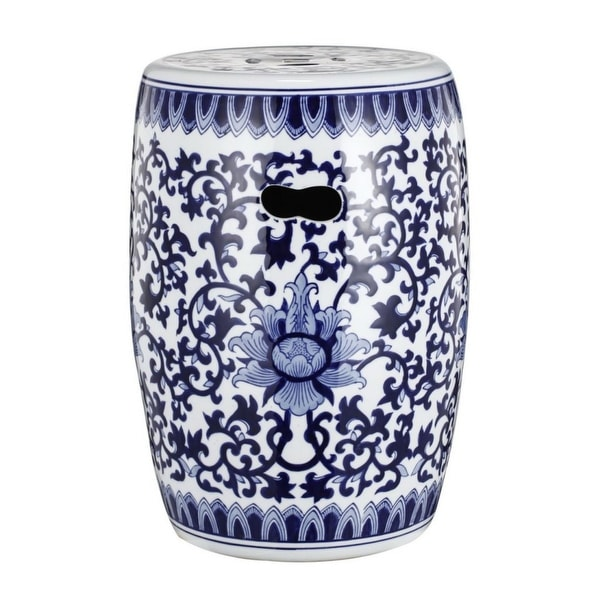"""15.75"""" Dazzling Blue and White Floral Design Garden Stool - N/A"""