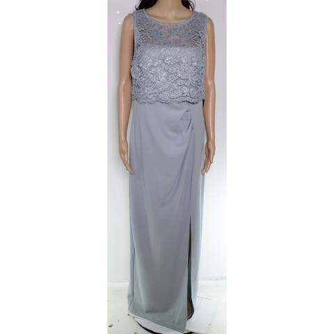 Marina Women's Dress Winter Ice Blue Size 12 Shimmer Lace Pleat Gown