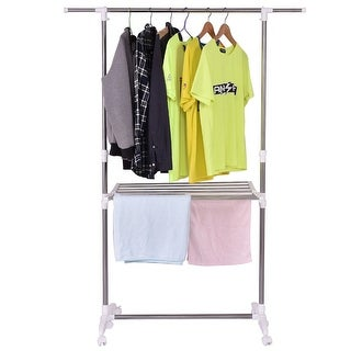Costway Folding Drying Rack Extendable Rolling Storage Hanger Adjustable Laundry Clothes - White