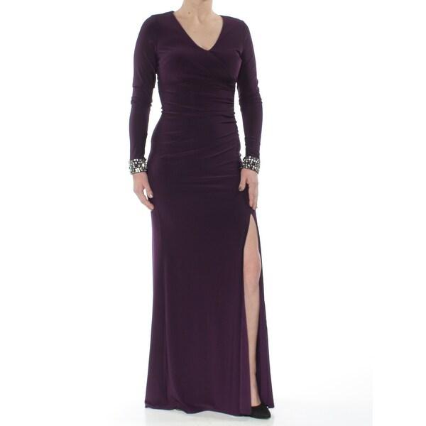VINCE CAMUTO Womens Purple Pleated Slit Long Sleeve V Neck Full-Length Formal Dress Size: 2