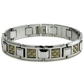 Tungsten Gold & Silver Carbon Fiber Inlay Link Bracelet - 8 inches