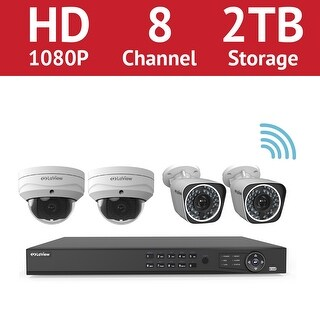LaView 8-Channel Full HD IP Indoor/Outdoor Wi-Fi Surveillance 2TB NVR System (2) 1080p Bullet and (2) Dome Cameras