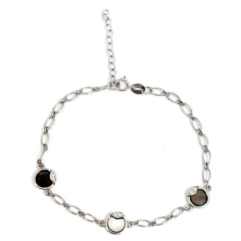 Mother of Pearl Sterling Silver Round Chain Bracelet by Orchid Jewelry