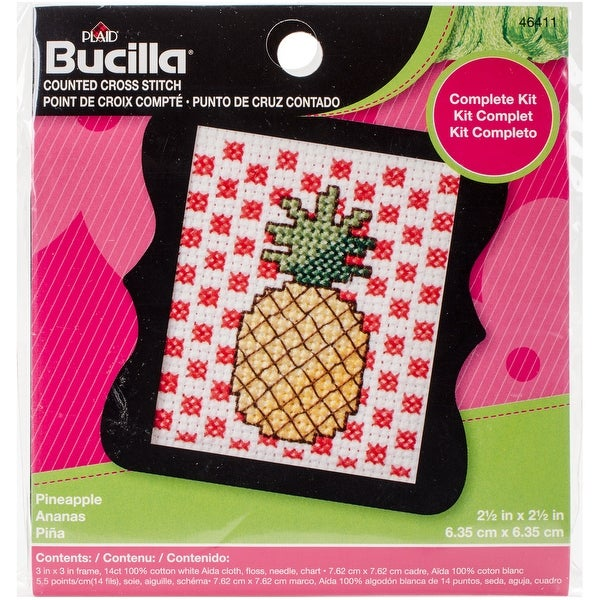 "Beginner Minis Pineapple Counted Cross Stitch Kit-3""X3"" 14 Count"