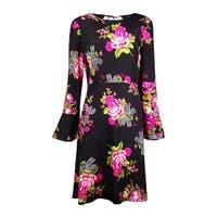 Betsey Johnson Women's Floral Tie-Back Bell-Sleeves Dress - Black Multi