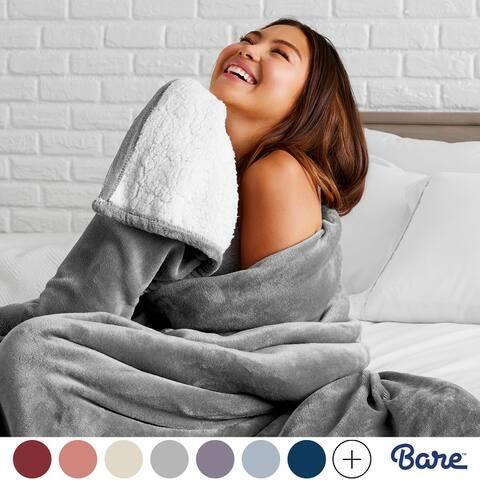 Bare Home Sherpa Fleece Blanket - Reversible Plush Bed Blanket