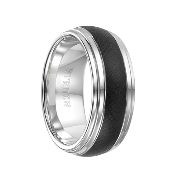 KILBY Two-Tone Domed Double Step Edge Tungsten Ring with Florentine Finish by Triton Rings - 9mm