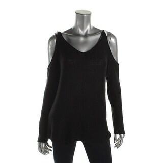 Aqua Womens Pullover Sweater Knit Cold Shoulder