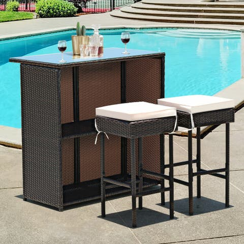 3 pcs Rattan Wicker Bar Table Stools Dining Set Cushioned Chairs