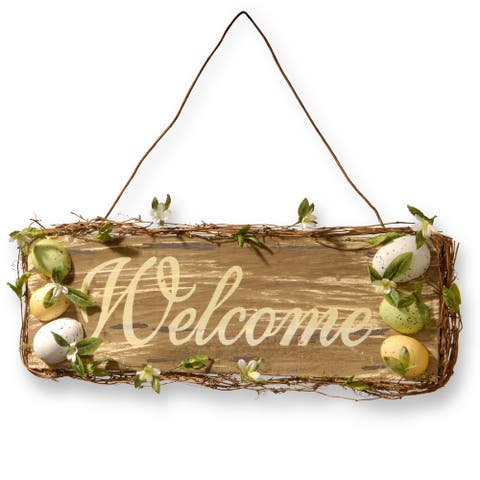 21 Easter Wood Decor Welcome Sign