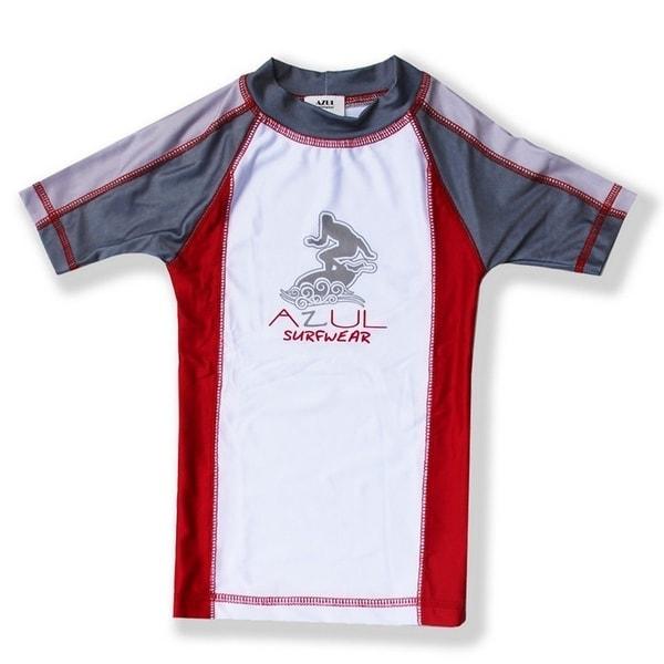 Azul Unisex Baby Red Grey Short Sleeve Trendy Solid Combo Rash Guard