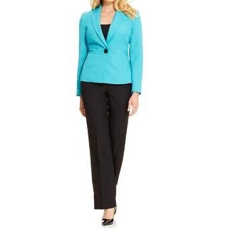 Le Suit NEW Blue Black Women's Size 16X32 Single-Button Pant Suit Set
