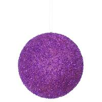 8'' Purple Beaded Sequin Ball Orn 1/Box