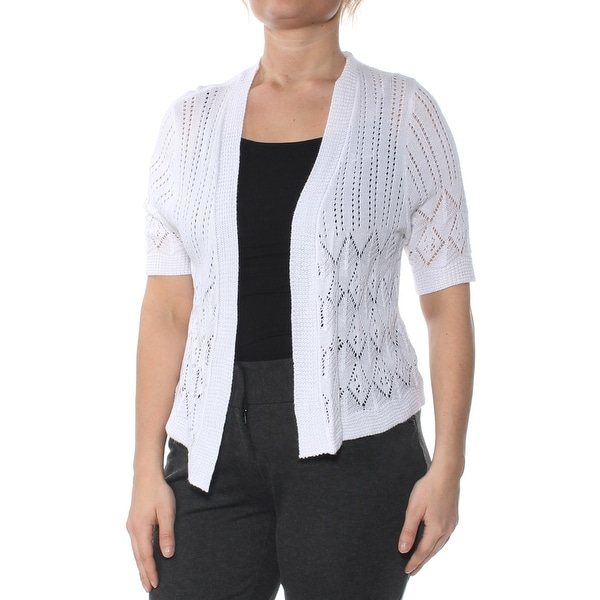 Shop ROBBIE BEE Womens White Open Cardigan Wear To Work Top Petites Size  L  - Free Shipping On Orders Over  45 - Overstock - 27795690 9283c3c24