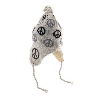 Peace Sign Knit Winter Hat with Pom Pom