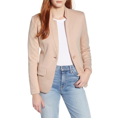 Gibson Women's Blazer Nude Pink Size XXL Single Button Kiss Collar