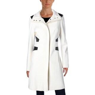 Via Spiga Womens Coat Wool Faux Leather Trim
