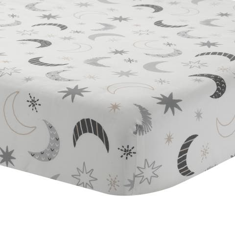 Lambs & Ivy Little Sheep Gray/White Moons & Stars 100% Cotton Baby Fitted Crib Sheet