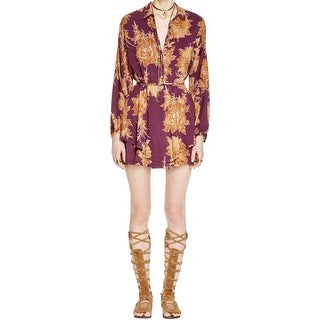 Free People Womens Shake It Shirtdress Printed Bishop Sleeves