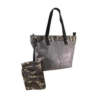 Metallic Vinyl Tote Handbag w/Camouflage Trim and Removable Camo Clutch