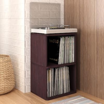 Way Basics Vintage Vinyl Record Cube 2-Shelf Storage, Turntable Stand Organizer - Fits 170 LP Albums, Espresso