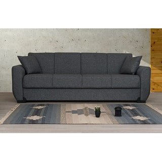 Link to Lancaster Grey Fabric Convertible Sleeper Sofa with Storage Similar Items in Sofas & Couches