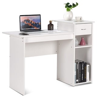 costway computer desk pc laptop table w drawer and shelf home office furniture white white home office desk81 white