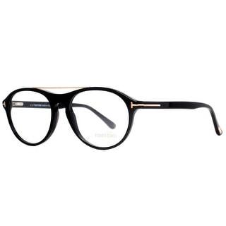 TOM FORD Round TF 5411 Unisex 001 Shiny Black Clear Eyeglasses - 53mm-17mm-145mm