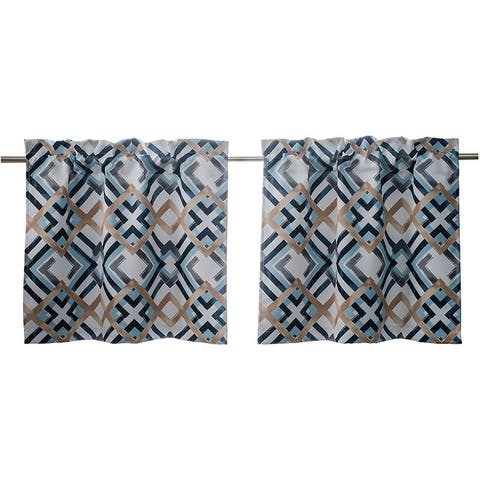 DriftAway Diamond Kitchen Tier Thermal Insulated for Small Window Rod Pocket Set of 2 - 30''Wx24''L