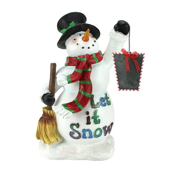 18 festive snowman holding broom and blackboard christmas countdown figure - Christmas Broom Decoration