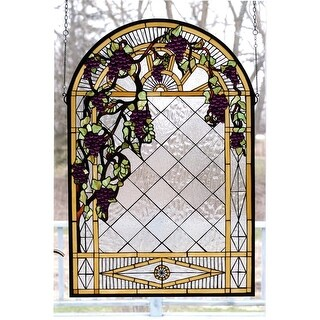 Meyda Tiffany 66048 Stained Glass Tiffany Window from the Jeweled Grape Collection - n/a