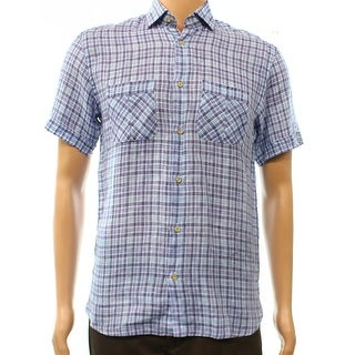 Scott james NEW Blue White PLaid Mens Size Small S Button Down Shirt