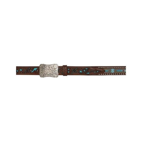 Angel Ranch Western Belt Womens Floral Filigree Beads Dark Brown