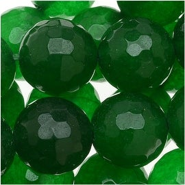 Green Agate Faceted Round Gemstone Beads 10mm (15 Inch Strand)