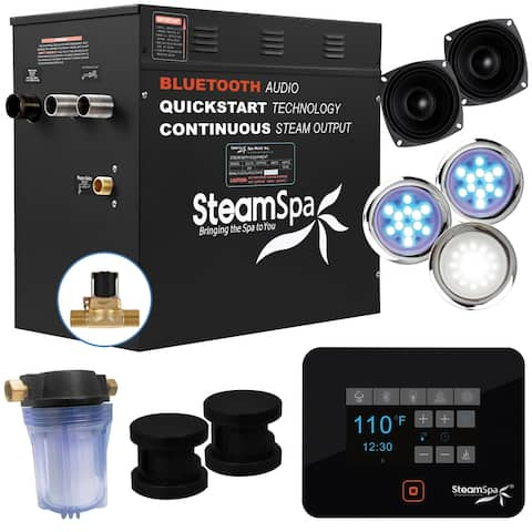 SteamSpa Black Series Bluetooth 10.5kW QuickStart Steam Bath Generator in Matte Black
