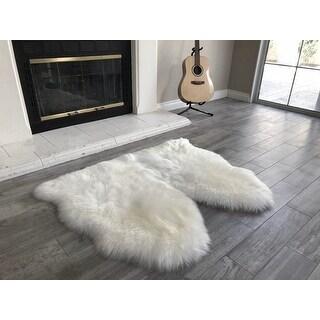 "Link to Dynasty Natural 2-Pelt Luxury Long Wool Sheepskin Shag Rug - 3' x 3'6"" Similar Items in Shag Rugs"