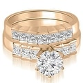 1.85 cttw. 14K Rose Gold Princess and Round Cut Diamond Bridal Set - Thumbnail 0