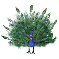"17"" Colorful Green Regal Peacock Bird with Open Tail Feathers Christmas Decoration - BLue"