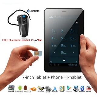 """Indigi® 7"""" Unlocked 3G SmartPhone 2-in-1 Android 4.4 Tablet PC w/ Built-in Smart Cover + Bluetooth Included(Black) - Black"""