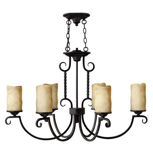 Hinkley Lighting H3508 Casa 6-Light 1 Tier Candle Style Pillar Candle Chandelier - olde black - n/a