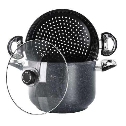 Gibson Leighton 3Pc 8.5Qt Steel Nonstick Pasta Pot w/ Steamer Black