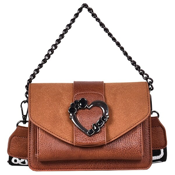 27b33d462163 QZUnique Women  x27 s PU Leather Handbag Crossbody Bag Solid Color Love Shoulder  Bag