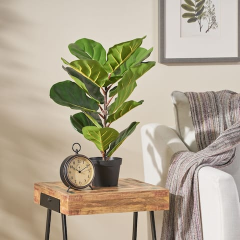 Socorro 4' x 1.5' Artificial Fiddle-Leaf Fig Tree by Christopher Knight Home