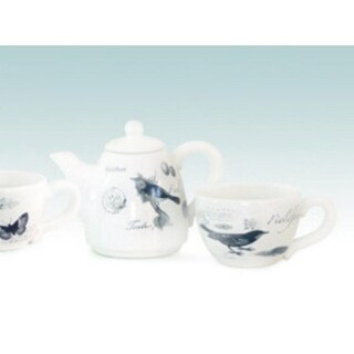 Two Piece French Botanical Black and Cream Fieldfare Bird Tea Cup and Pot Set