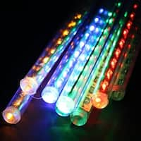 AGPtek 30cm 8pcs Tube 144LED RGB Multi-color Meteor Shower Rain Lights Waterproof String for Wedding Party Xmas Décor