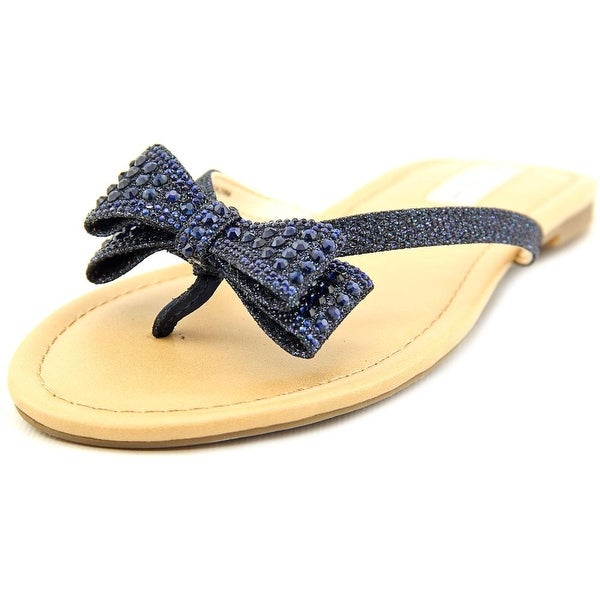 INC International Concepts Malissa Women Open Toe Canvas Blue Thong Sandal