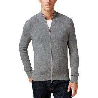 Michael Kors Mens Full Zip Sweater Mock Turtleneck Knit