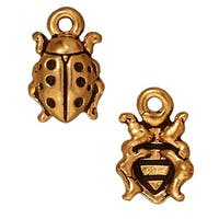 TierraCast 22K Gold Plated Pewter Ladybug Charm 12.5mm (1)