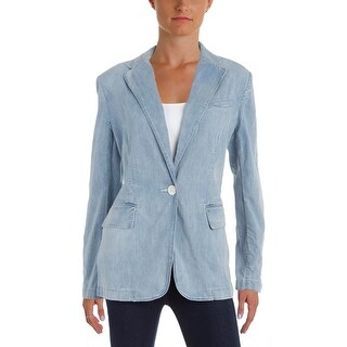 Lauren Ralph Lauren Womens Plus Angona One-Button Blazer Long Sleeves Denim