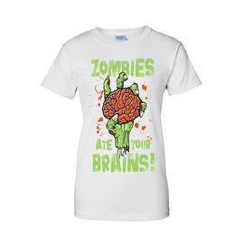 Women's Juniors T-Shirt Zombies Ate Your Brains! Undead Living Dead Walkers Tee|https://ak1.ostkcdn.com/images/products/is/images/direct/de8ef12439fe302680af9cc6e1d73ac2d7ec321b/Women%27s-Juniors-T-Shirt-Zombies-Ate-Your-Brains%21-Undead-Living-Dead-Walkers-Tee.jpg?impolicy=medium